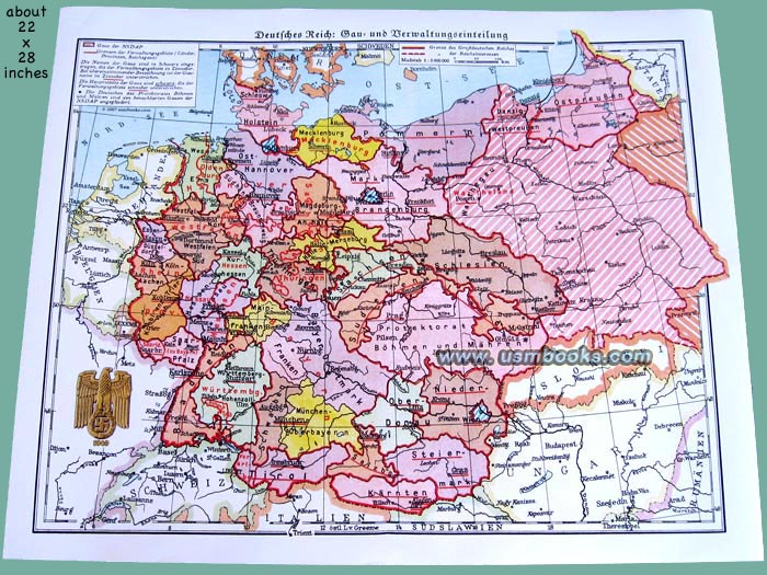 Map Of Germany For Sale.Nazi Gau Map Of Third Reich Germany